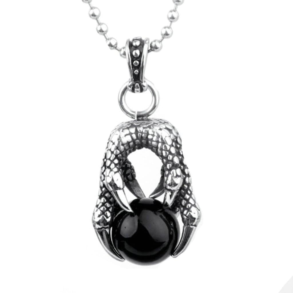 Stainless Steel Mens Dragon Claw White Zircon Pendant Necklace Fashion Silver Chain Link
