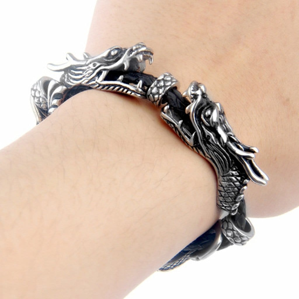 Stainless Steel Bangle Bracelet Men Vintagepunk Dragon Woven Leather Silver Charm Bracelets