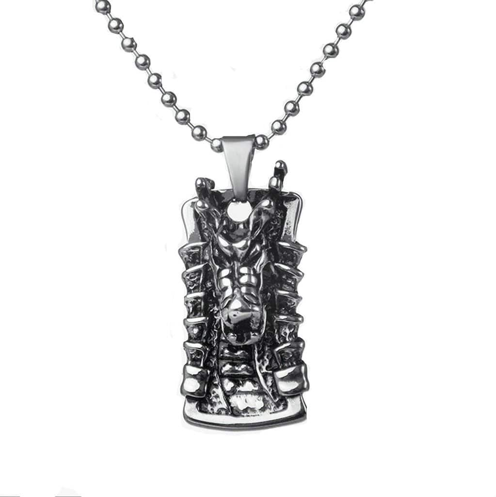 Stainless Steel Mens Dragon Head Pendant Necklace Fashion Silver Chain Link