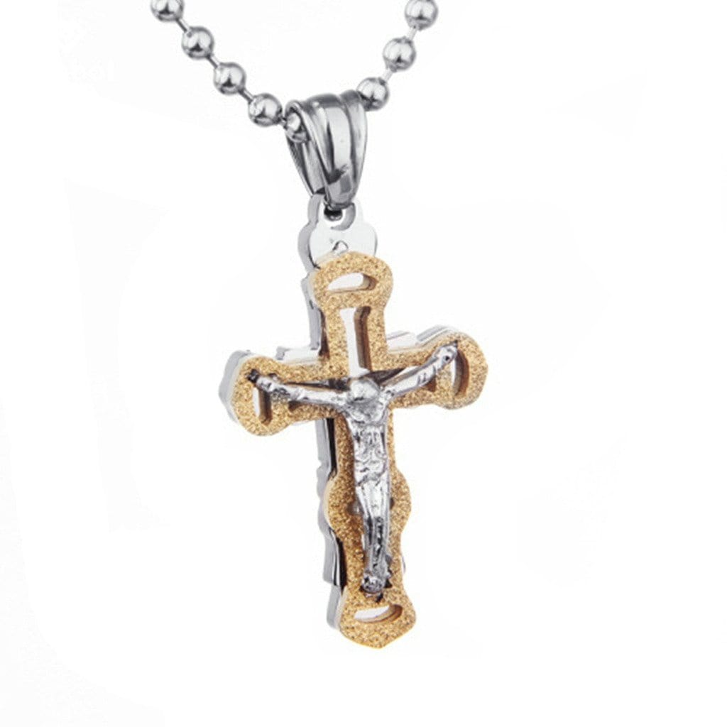 Stainless Steel Womens Mens Necklace Retro Silver Zircon Jesus Gross Pendant Silver Charm Necklaces