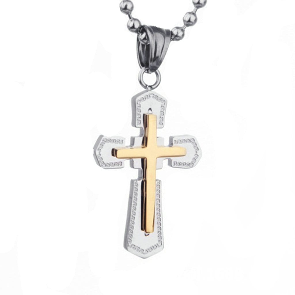 Stainless Steel Mens Gold Cross Pendant Necklace Fashion Silver Chain Link