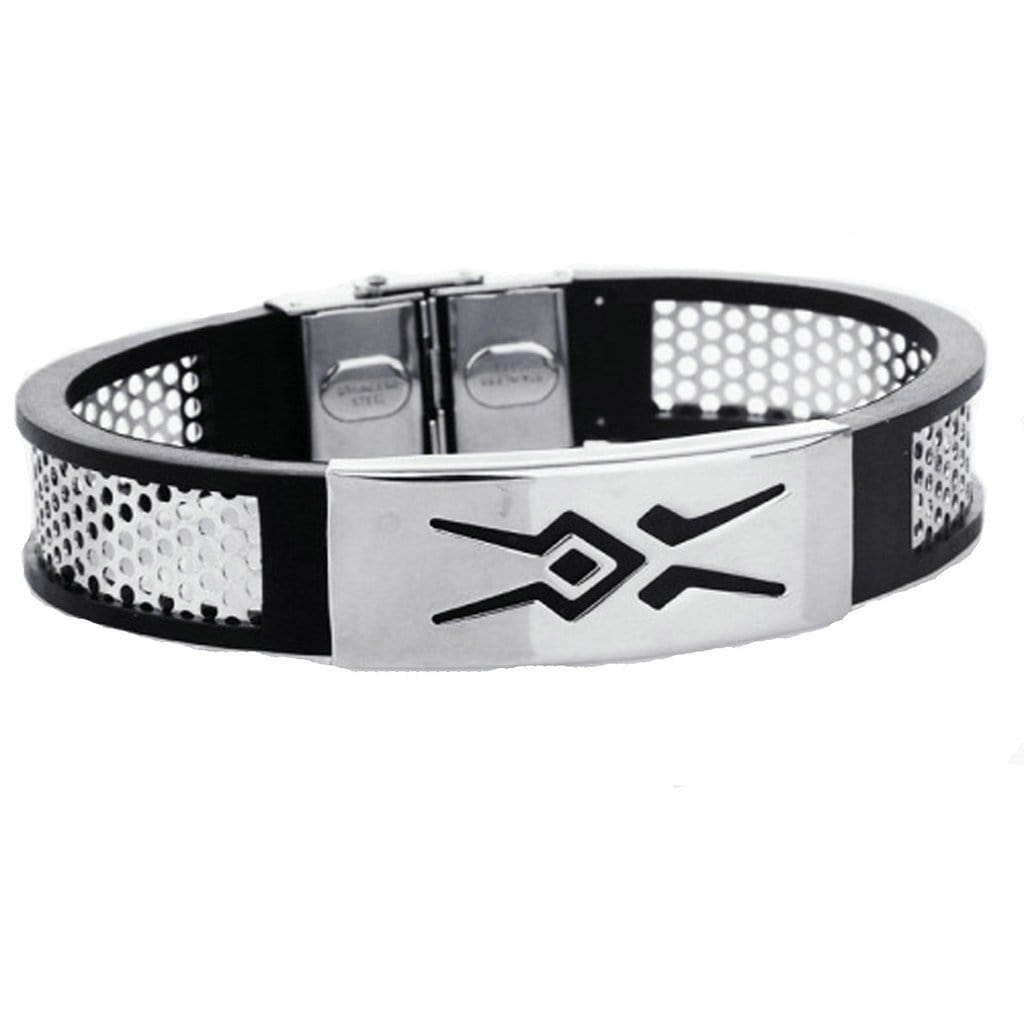 Stainless Steel Bracelet Cuff Men Black Sports Wristband Silicone Charm Bracelets Free Engraving