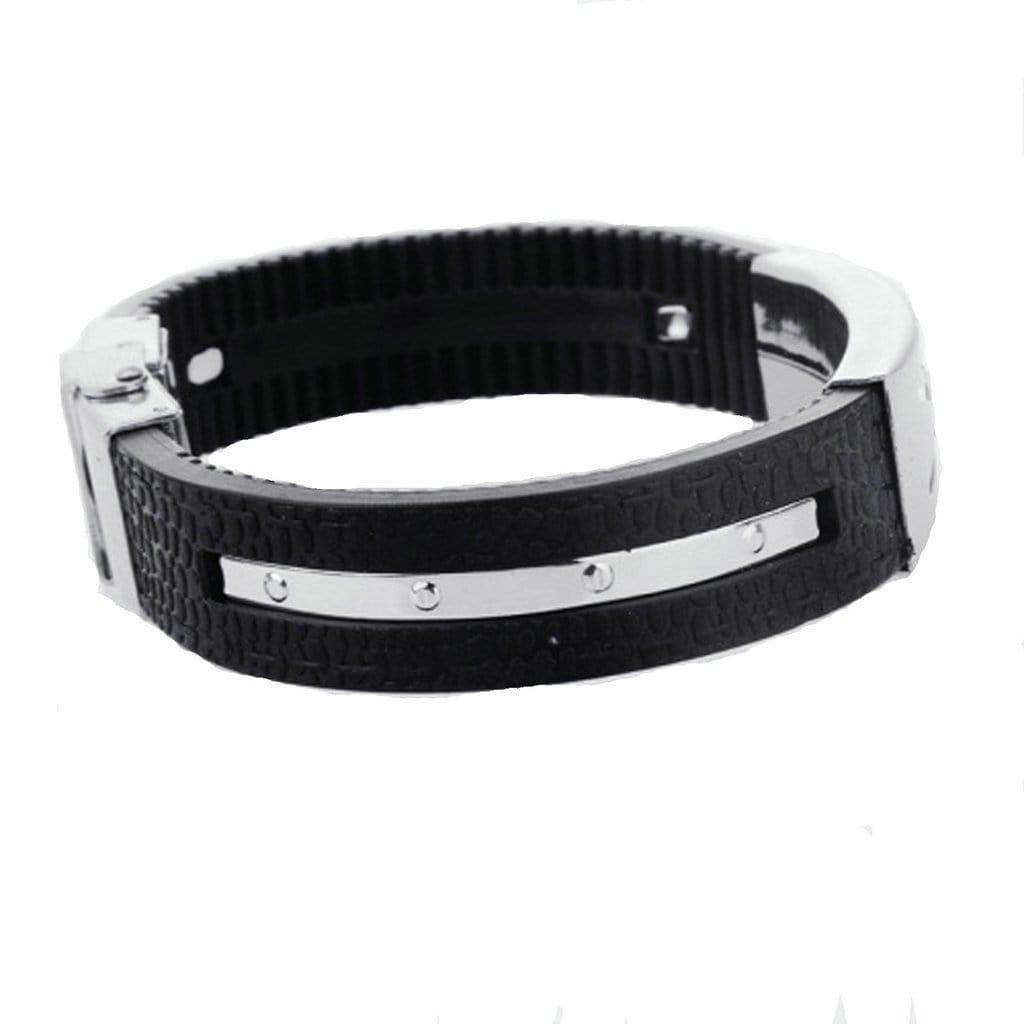 Stainless Steel Bracelet Cuff Men Black Sports Wristband Silicone Black Charm Bracelets