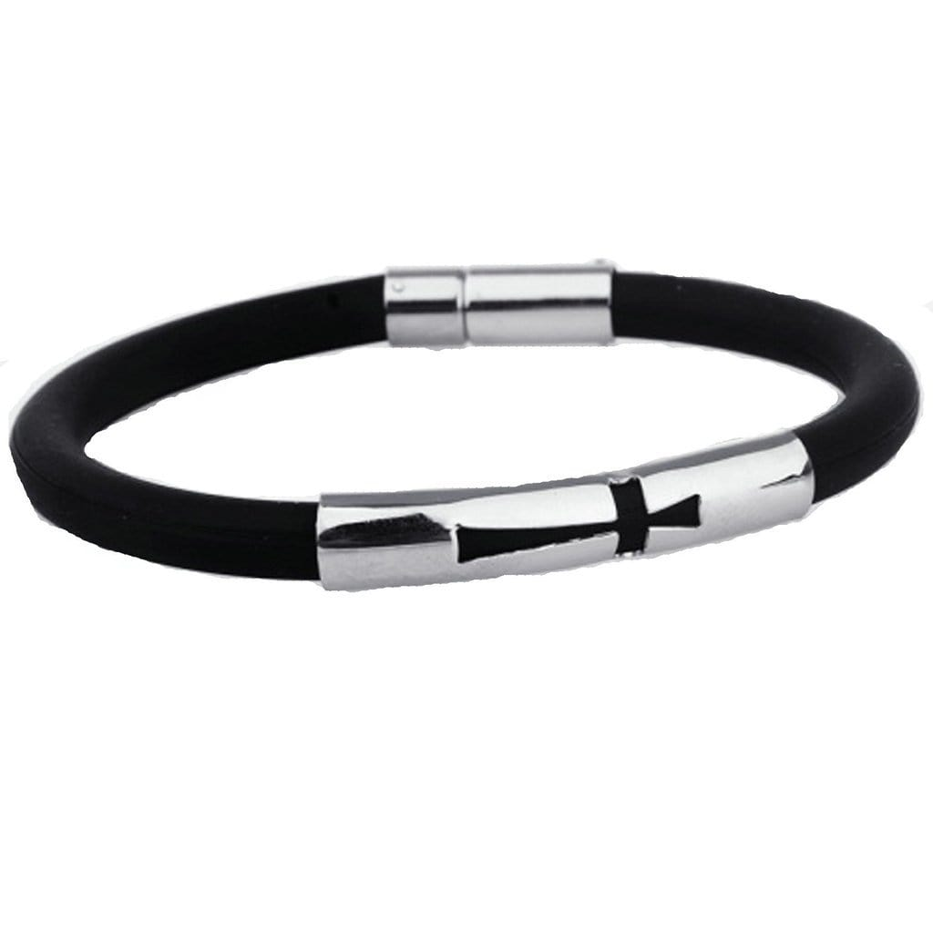 Stainless Steel Mens Womens Bracelet Cross Sports Wristband Silicone Couple Charm Bracelets