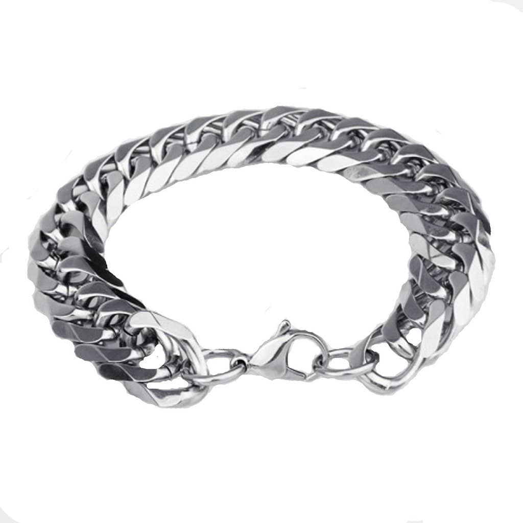 Stainless Steel Bracelet for Men Dad Punk Silver Charm Bracelets