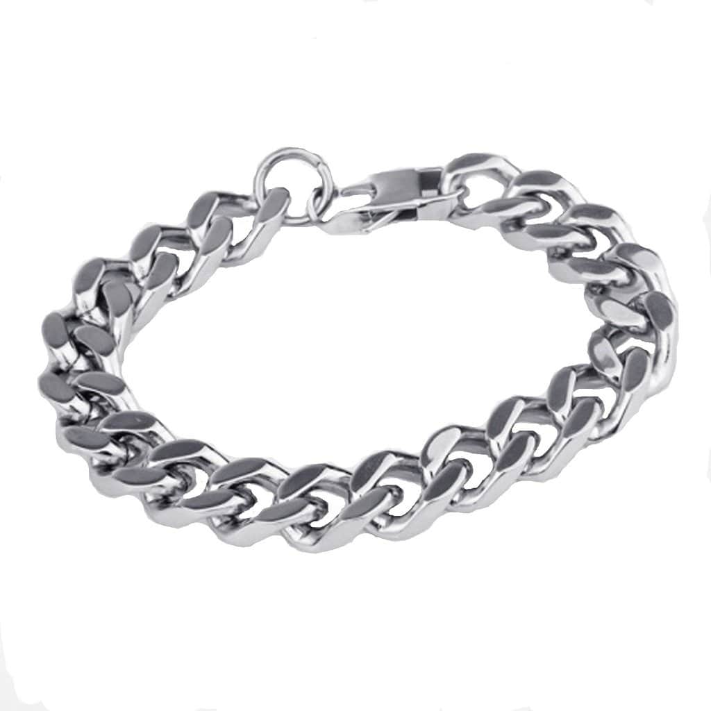 Stainless Steel Bracelet for Men Dad Punk Square Buckle Silver Charm Bracelets