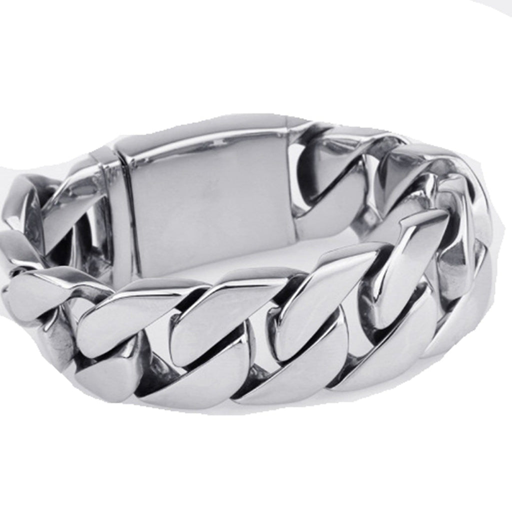 Stainless Steel Bracelet for Men Dad Punk Thick Silver Charm Bracelets