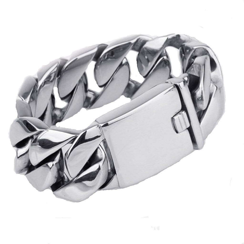 Stainless Steel Bracelet for Men Dad Punk Thick Silver Charm Bracelets Free Engraving