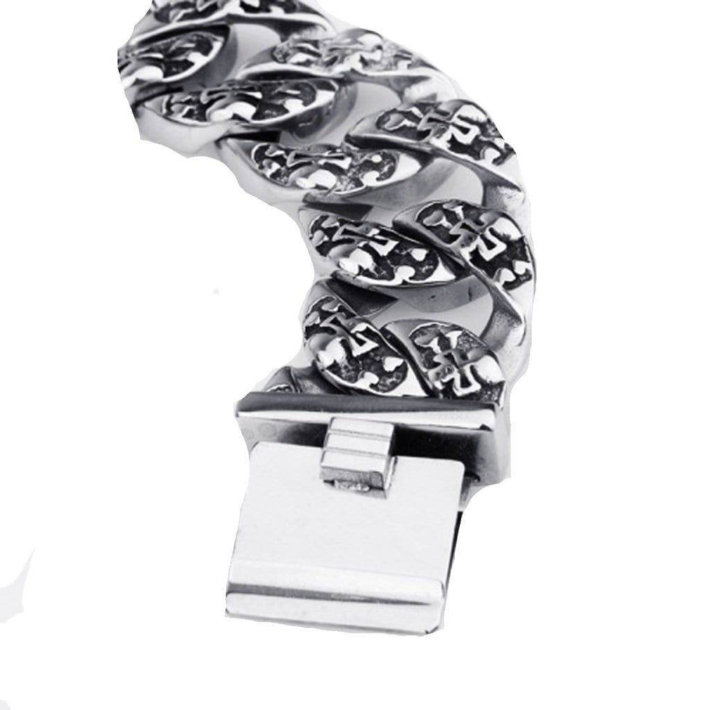 Stainless Steel Bracelet for Men Dad Punk Large Cast Thick Silver Charm Bracelets Free Engraving