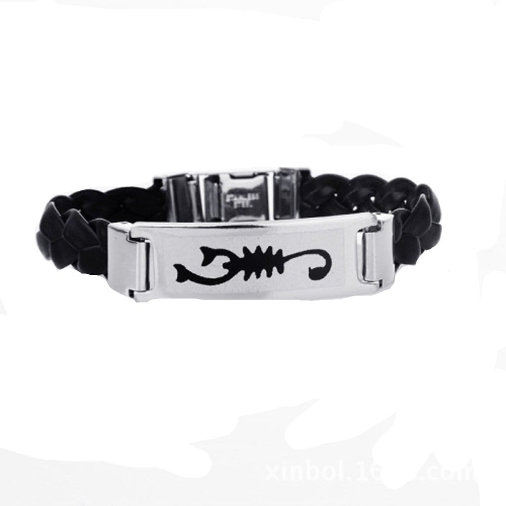 Stainless Steel Bracelet for Men Dad Punk Capricorn Woven Wristbands Silicone Charm Bracelets Free Engraving