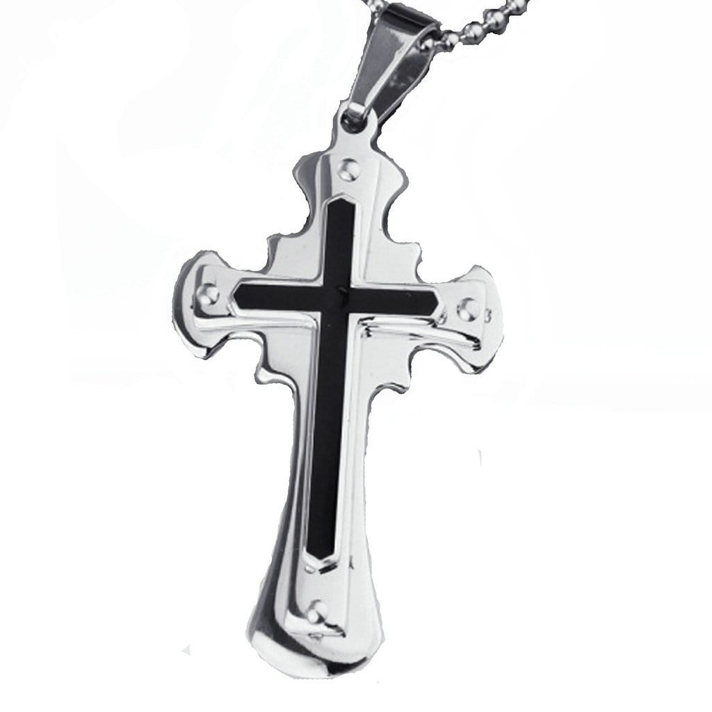 Stainless Steel Mens Cross Pendant Necklace Fashion Silver Chain Link