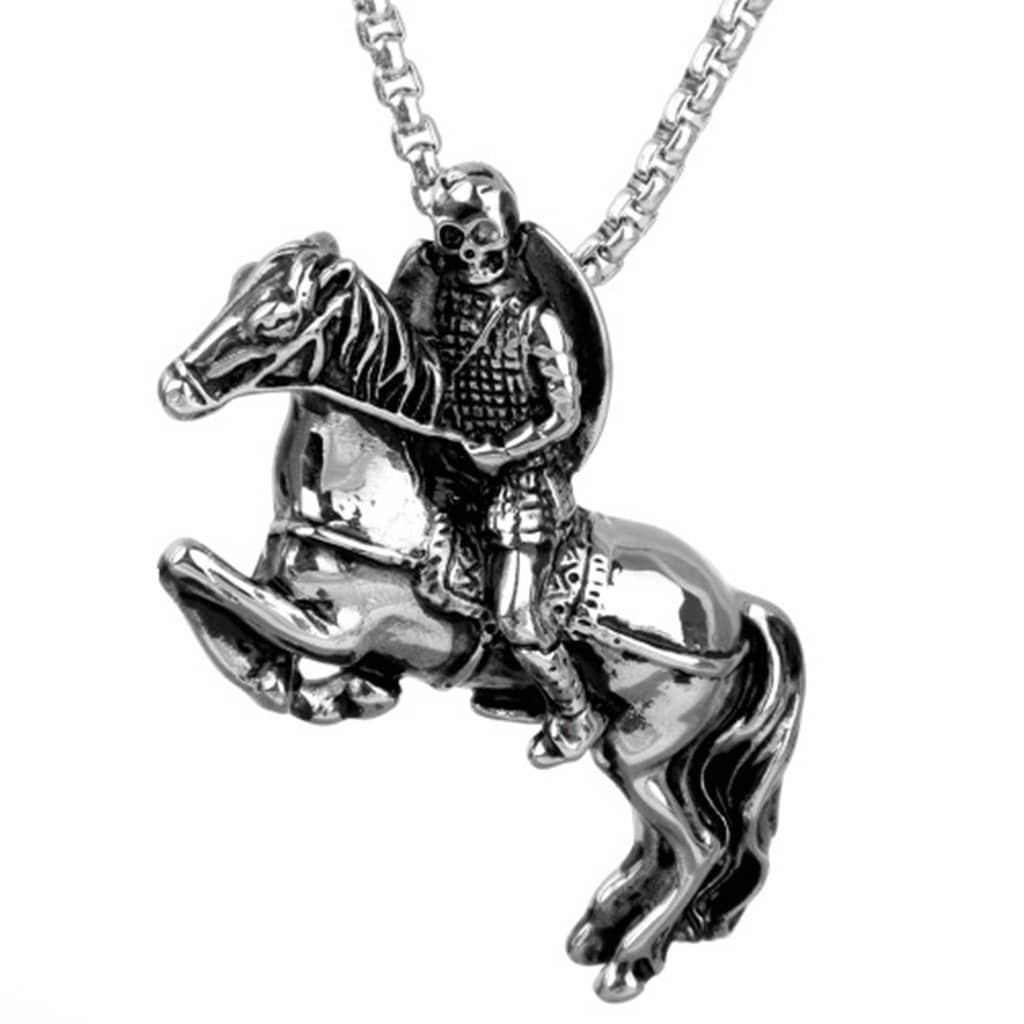 Stainless Steel Mens Skull Knight Pendant Necklace Fashion Silver Chain Link