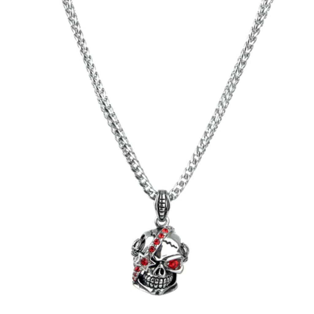 Stainless Steel Mens Red Eyes Skull Pendant Necklace Fashion Silver Chain Link