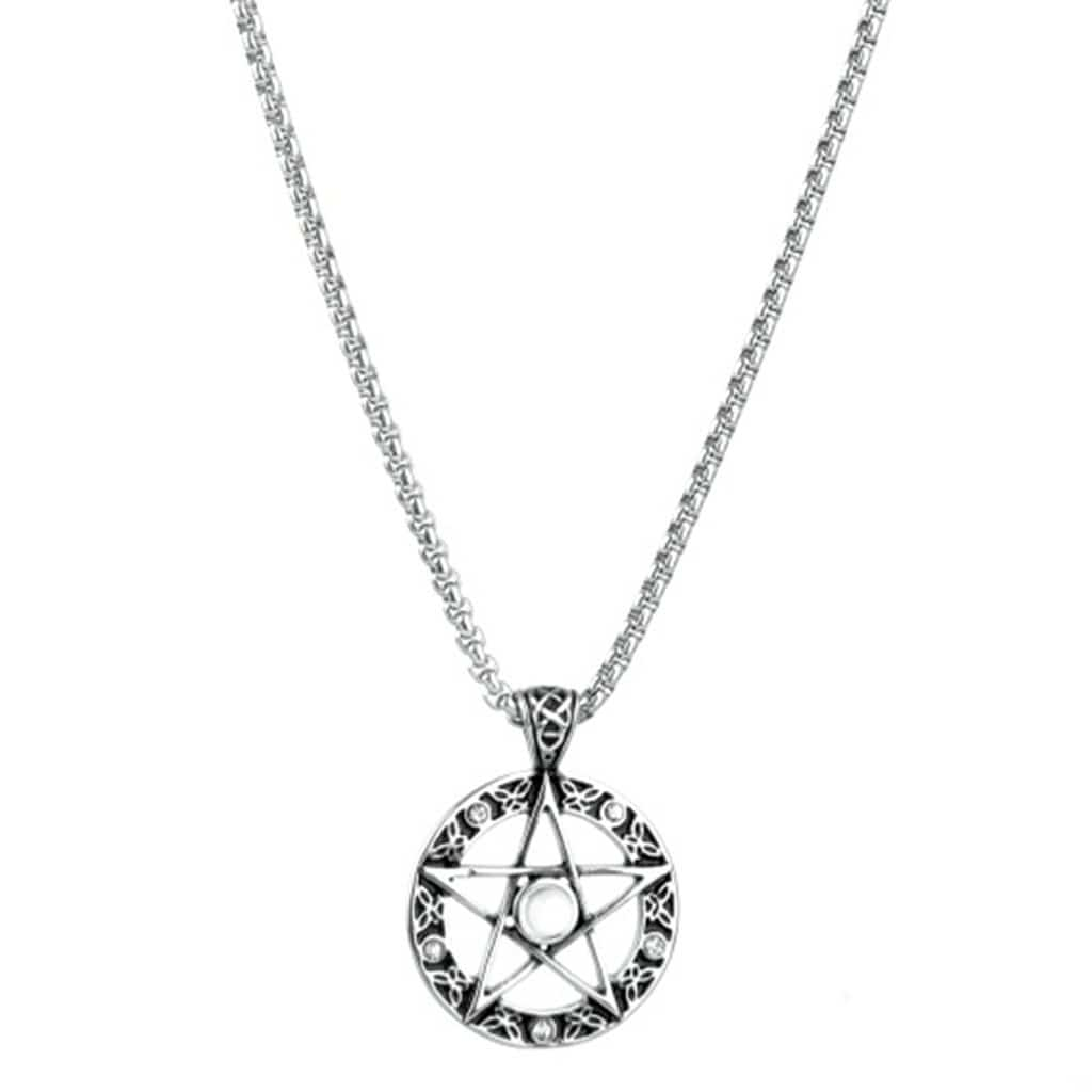 Stainless Steel Mens Star Disc Pendant Necklace Fashion Silver Chain Link