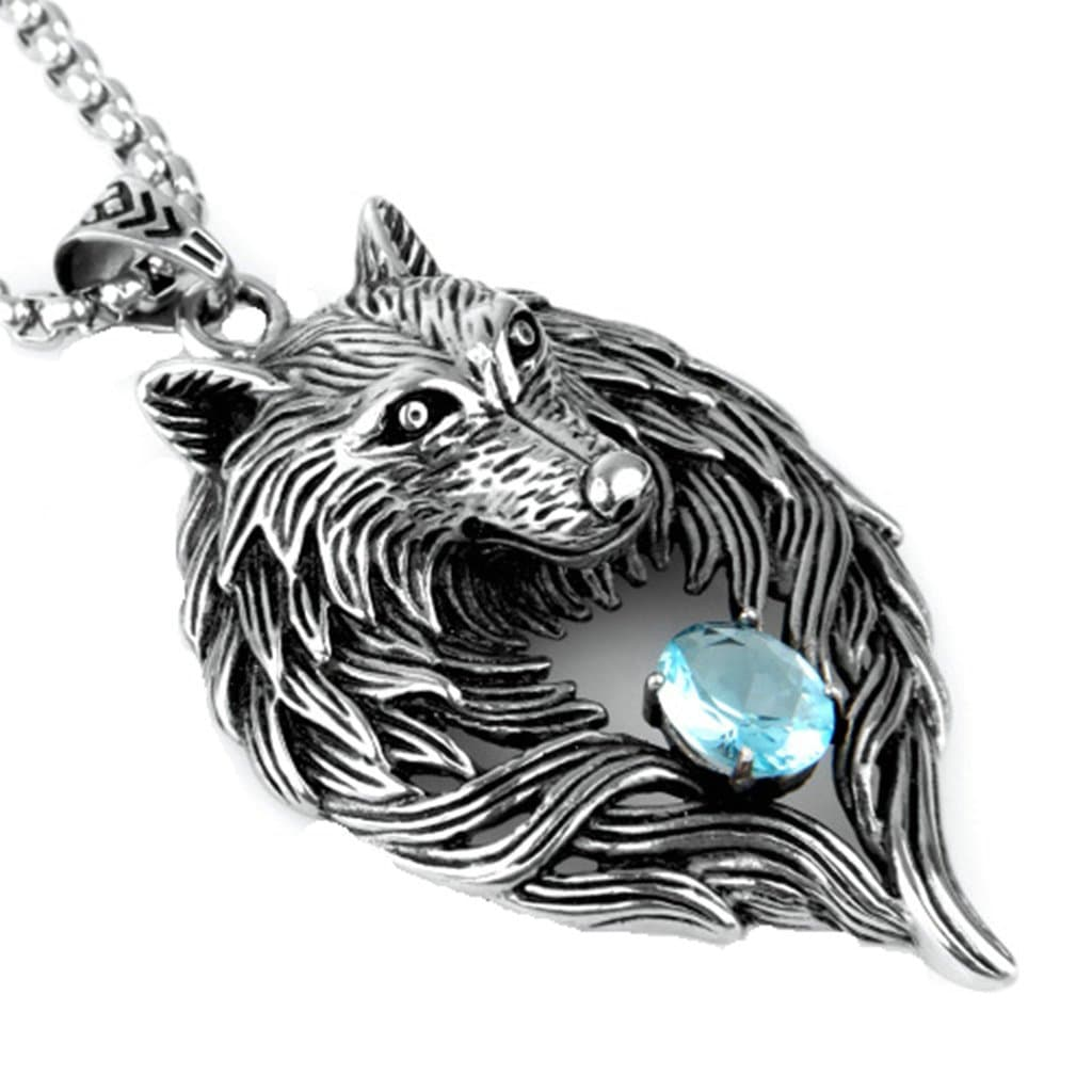 Men Necklace Stainless Steel Wolf White Zirconia Pendant Necklace Silver Chain Link