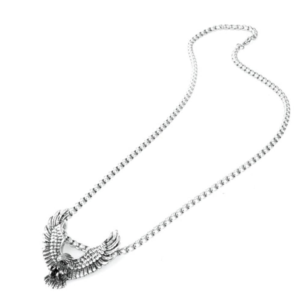 Men Necklace Stainless Steel Eagle Pendant Necklace Fashion Silver Chain Link