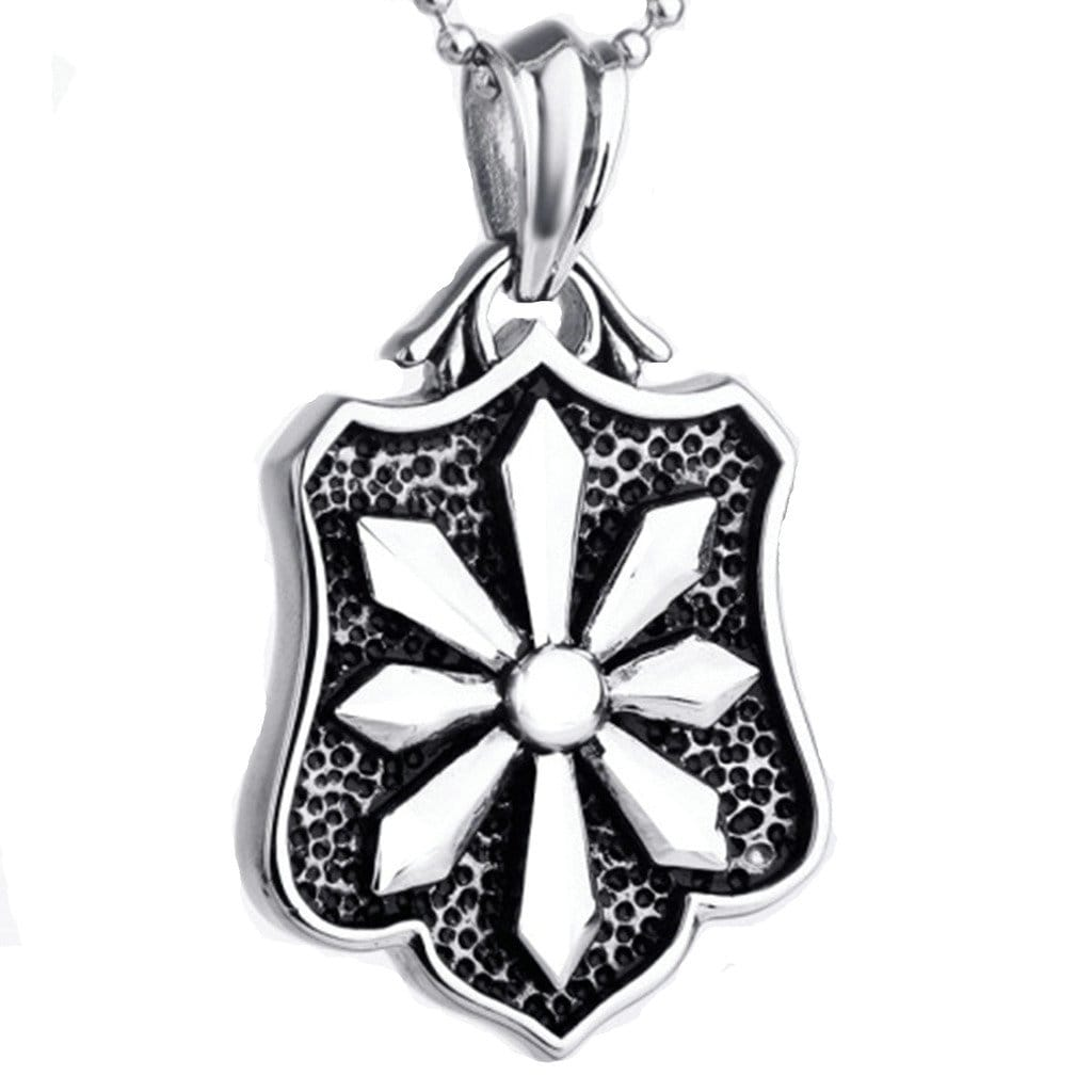 Mens Necklace Stainless Steel Punk Carved Flower Pendant Silver Charm Necklaces