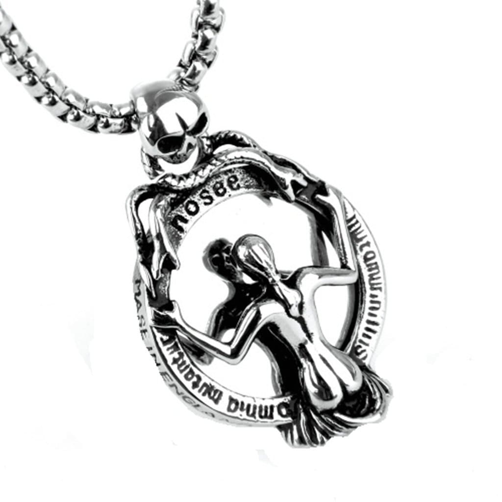 Men Necklace Stainless Steel Skull Magic Mirror Pendant Necklace Fashion Silver Chain Link