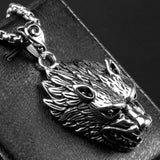 Men Necklace Stainless Steel Wolf'S Head Pendant Necklace Fashion Silver Chain Link