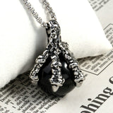 Men Necklace Stainless Steel Four Dragon Claw Black Zircon Pendant Necklace Fashion Silver Chain Link
