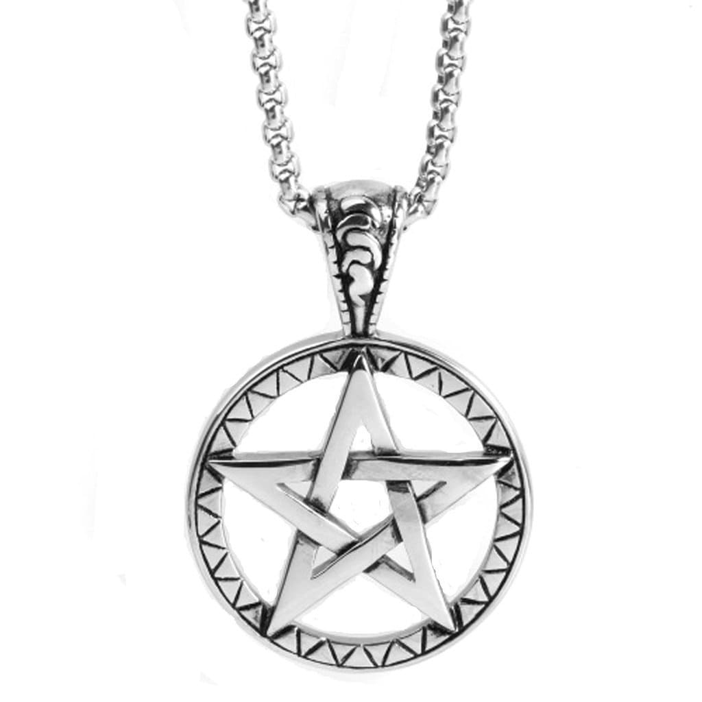 Men Necklace Stainless Steel Pentagram Pendant Necklace Vintage Silver Chain Link