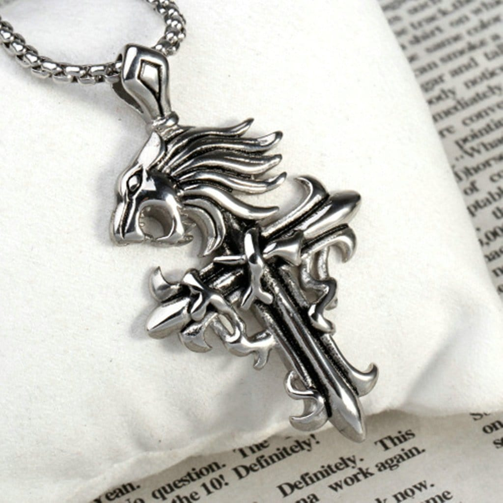 Men Necklace Stainless Steel Lion'S Head Cross Pendant Necklace Fashion Silver Chain Link