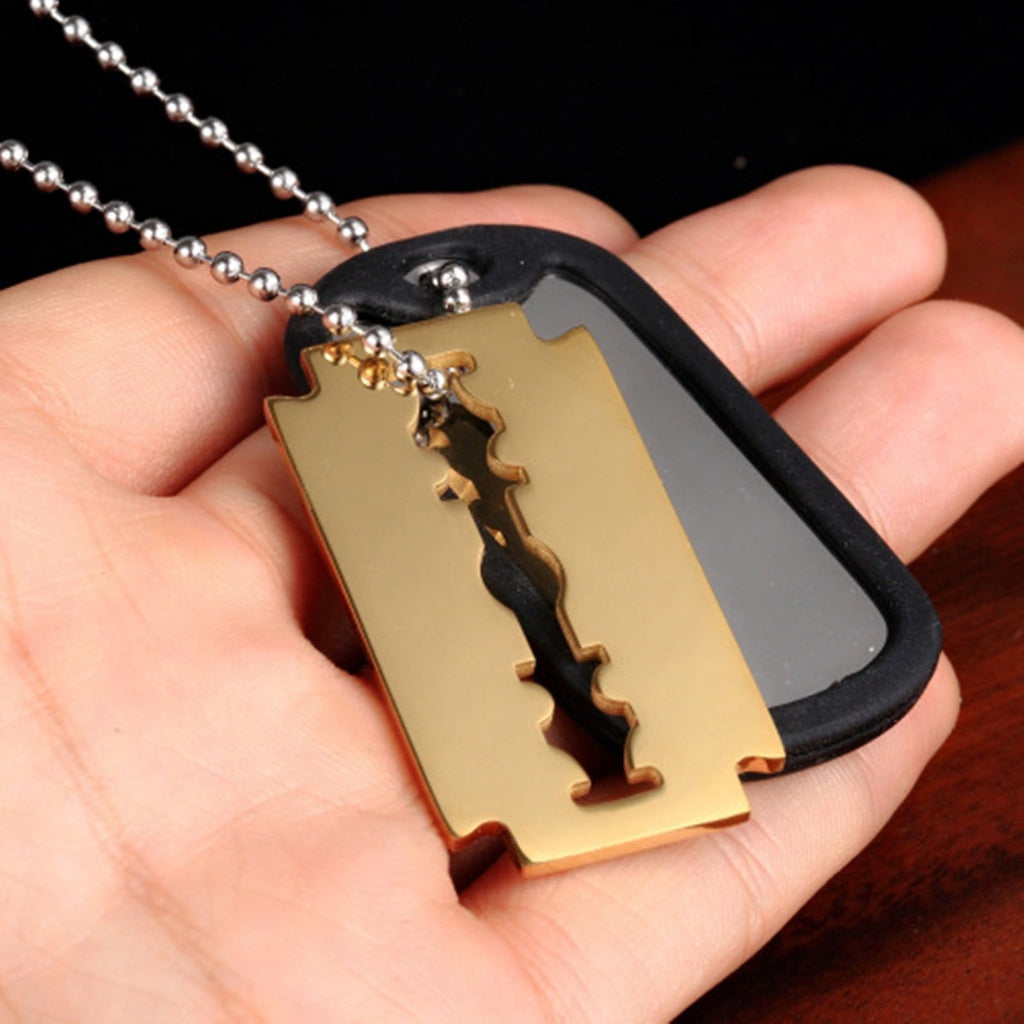 Stainless Steel Necklace for Men Blade Pendant Gold Chain 60CM