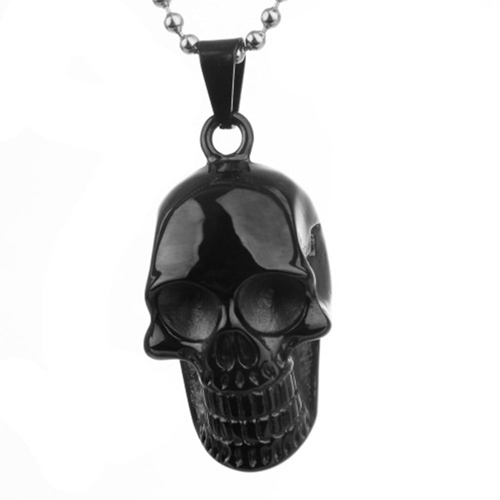 Stainless Steel Mens Skull Pendant Necklace Fashion Silver Chain Link