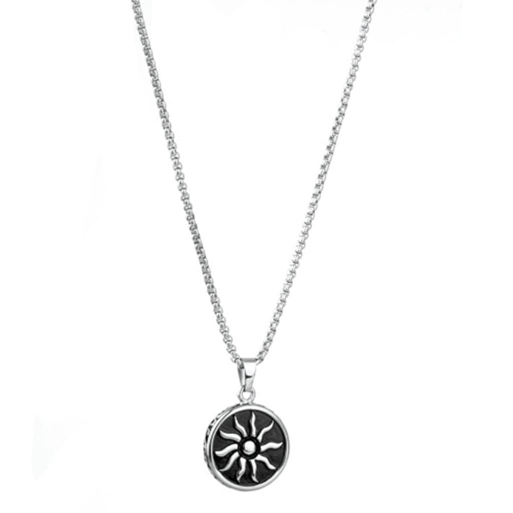 Stainless Steel Mens Sun Flower Pendant Necklace Fashion Silver Chain Link