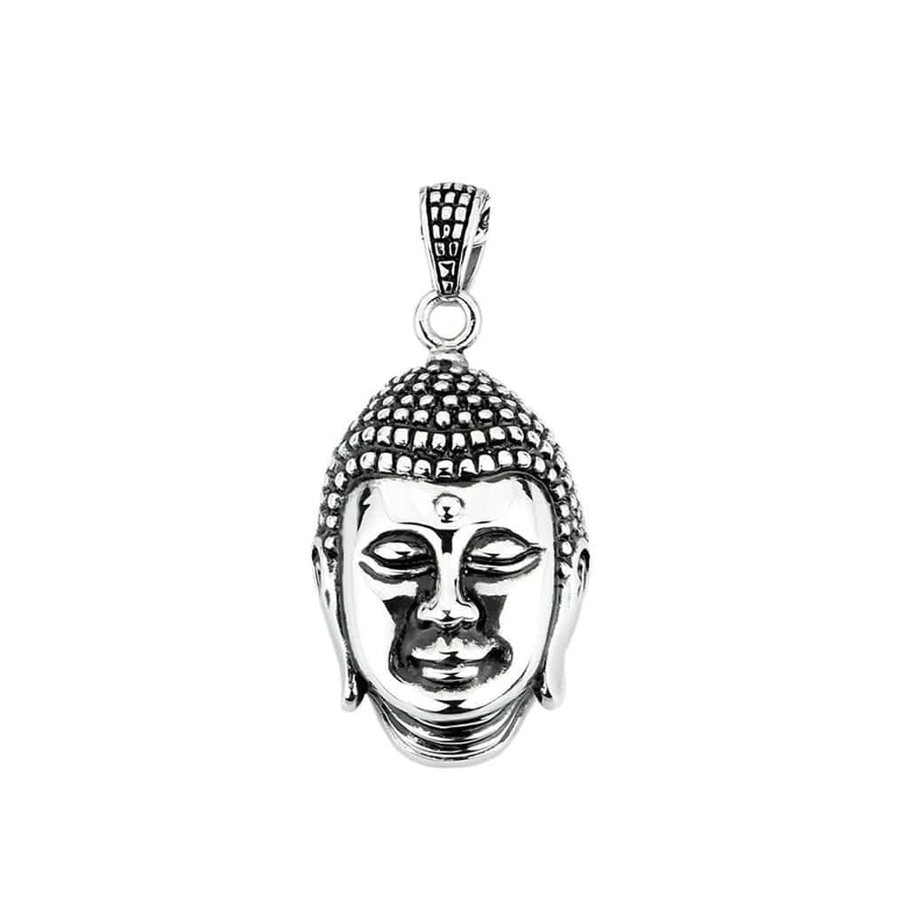 Stainless Steel Mens Buddha Pendant Necklace Fashion Silver Chain Link