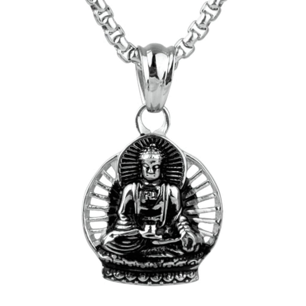 Stainless Steel Mens Buddha Pendant Necklace Vintage Silver Chain Link