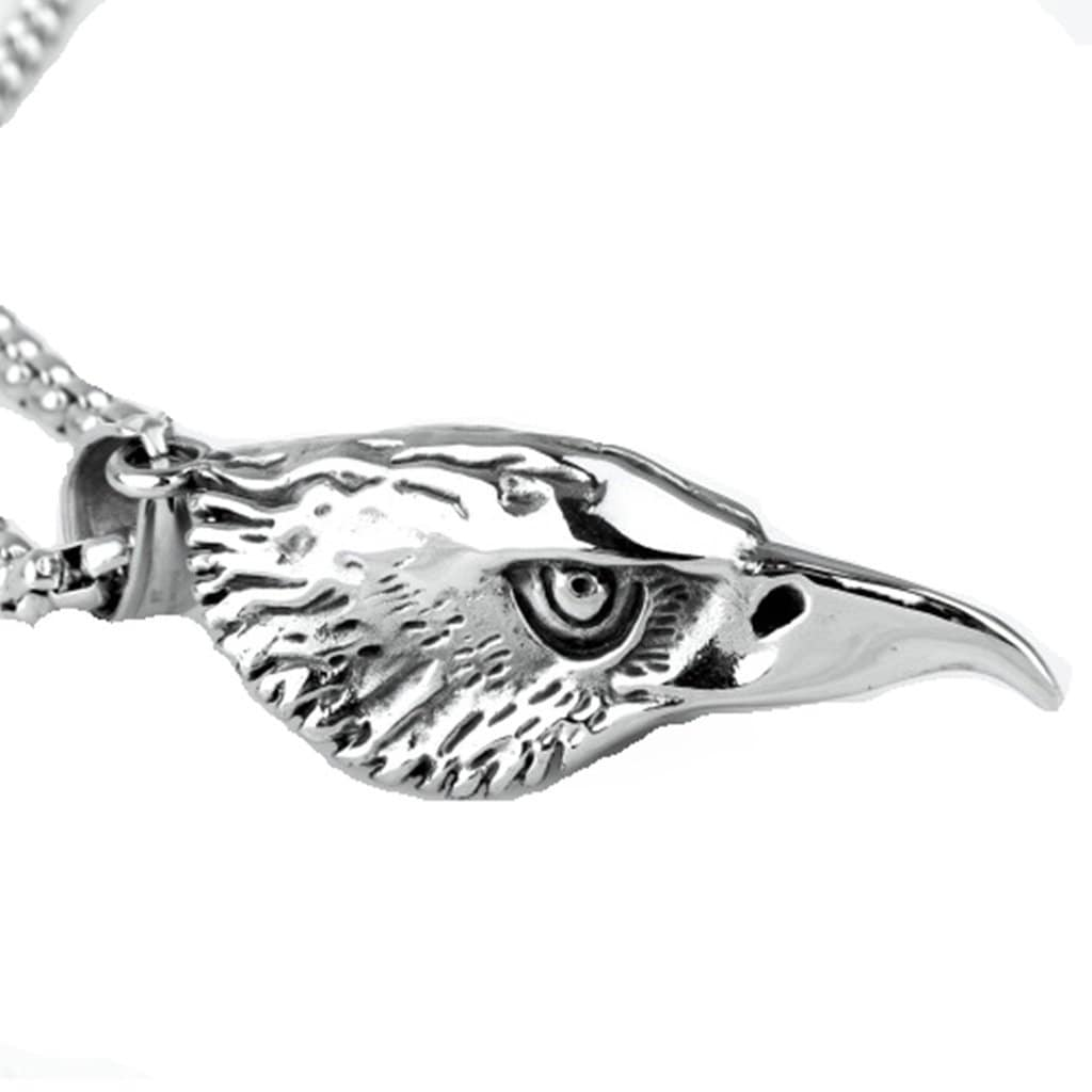 Stainless Steel Mens Eagle Head Pendant Necklace Fashion Silver Chain Link
