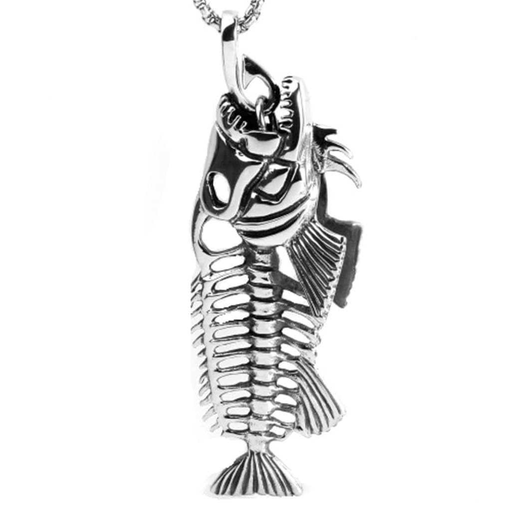 Stainless Steel Mens Fish Bone Pendant Necklace Fashion Silver Chain Link