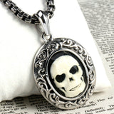 Stainless Steel Mens Skull Pendant Necklace Vintage Silver Chain Link