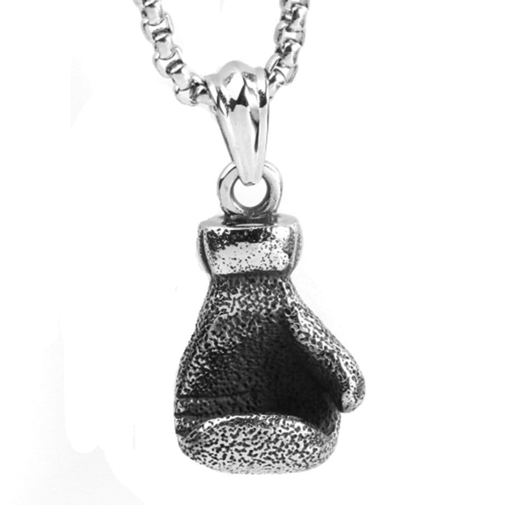 Stainless Steel Mens Glove Pendant Necklace Fashion Sports Chain Link