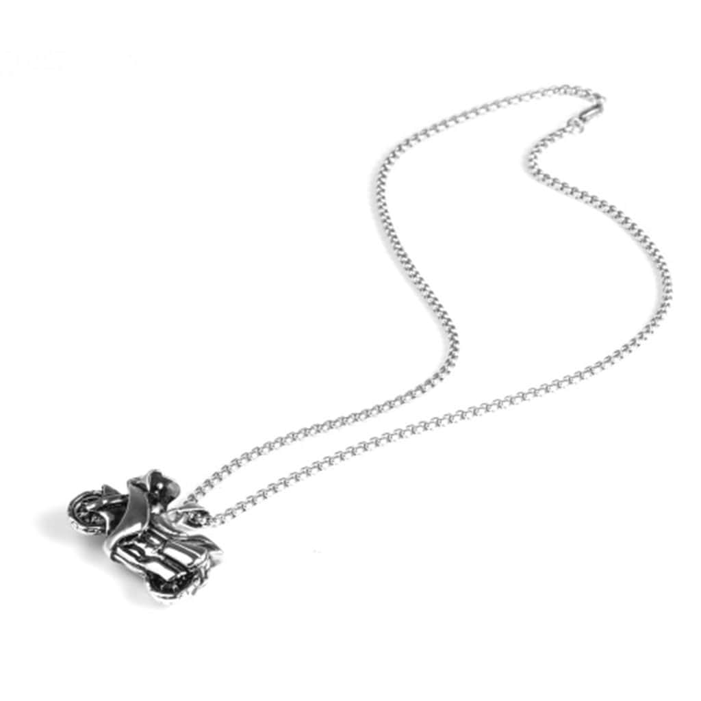 Stainless Steel Mens Motorcycle Pendant Necklace Fashion Silver Chain Link