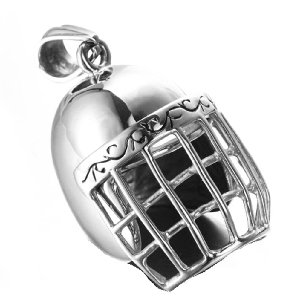 Stainless Steel Mens Baseball Helmets Pendant Necklace Fashion Silver Chain Link