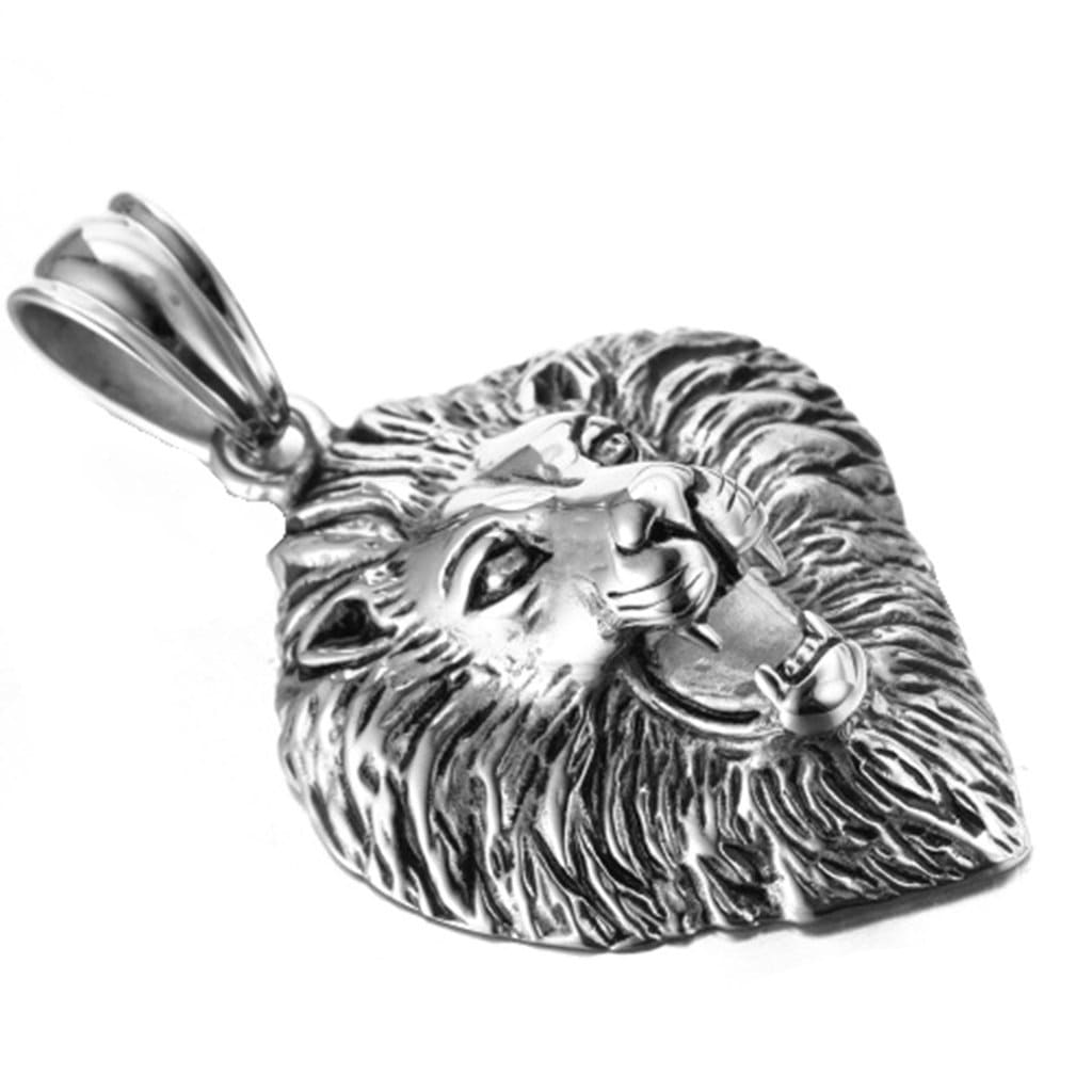 Stainless Steel Mens Lion'S Head Pendant Necklace Fashion Silver Chain Link