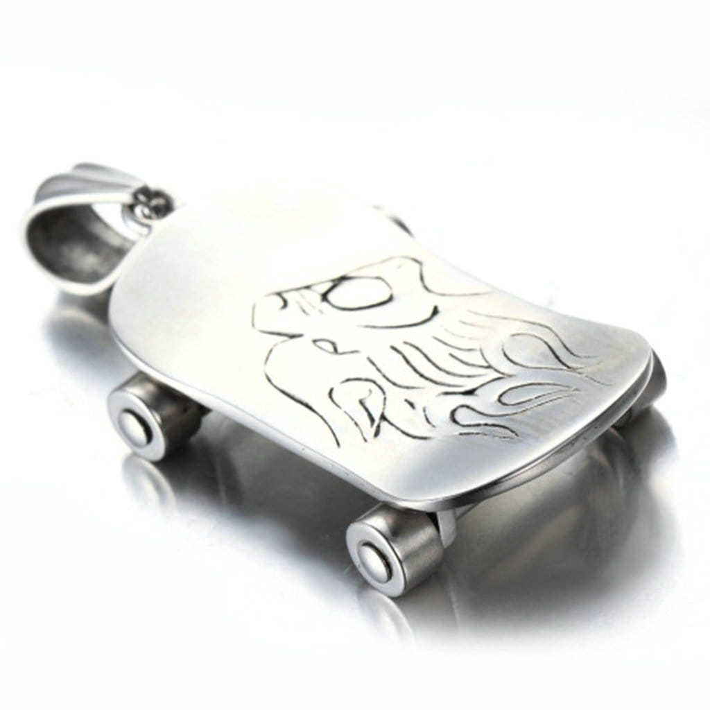 Stainless Steel Mens Skateboarding Pendant Necklace Fashion Silver Chain Link
