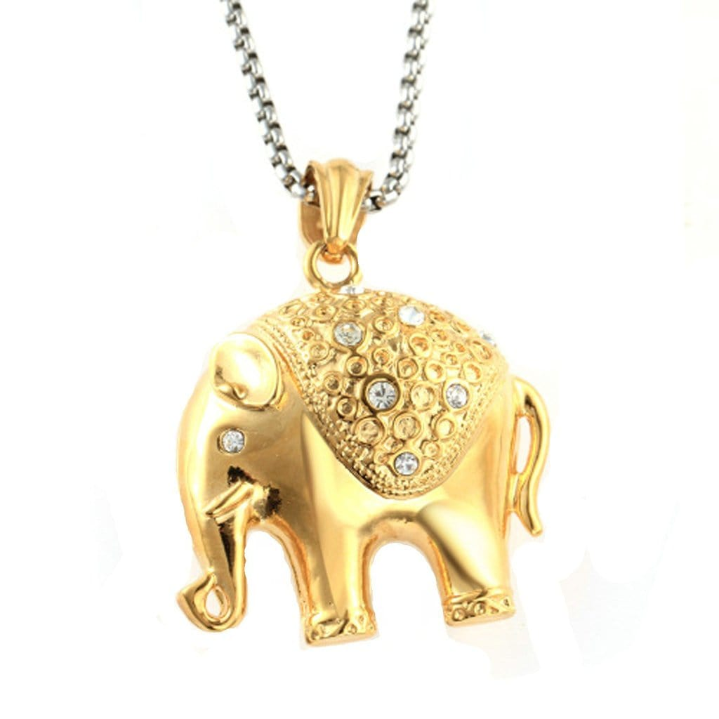 Stainless Steel Mens Zirconia Elephant Pendant Necklace Fashion Silver Chain Link