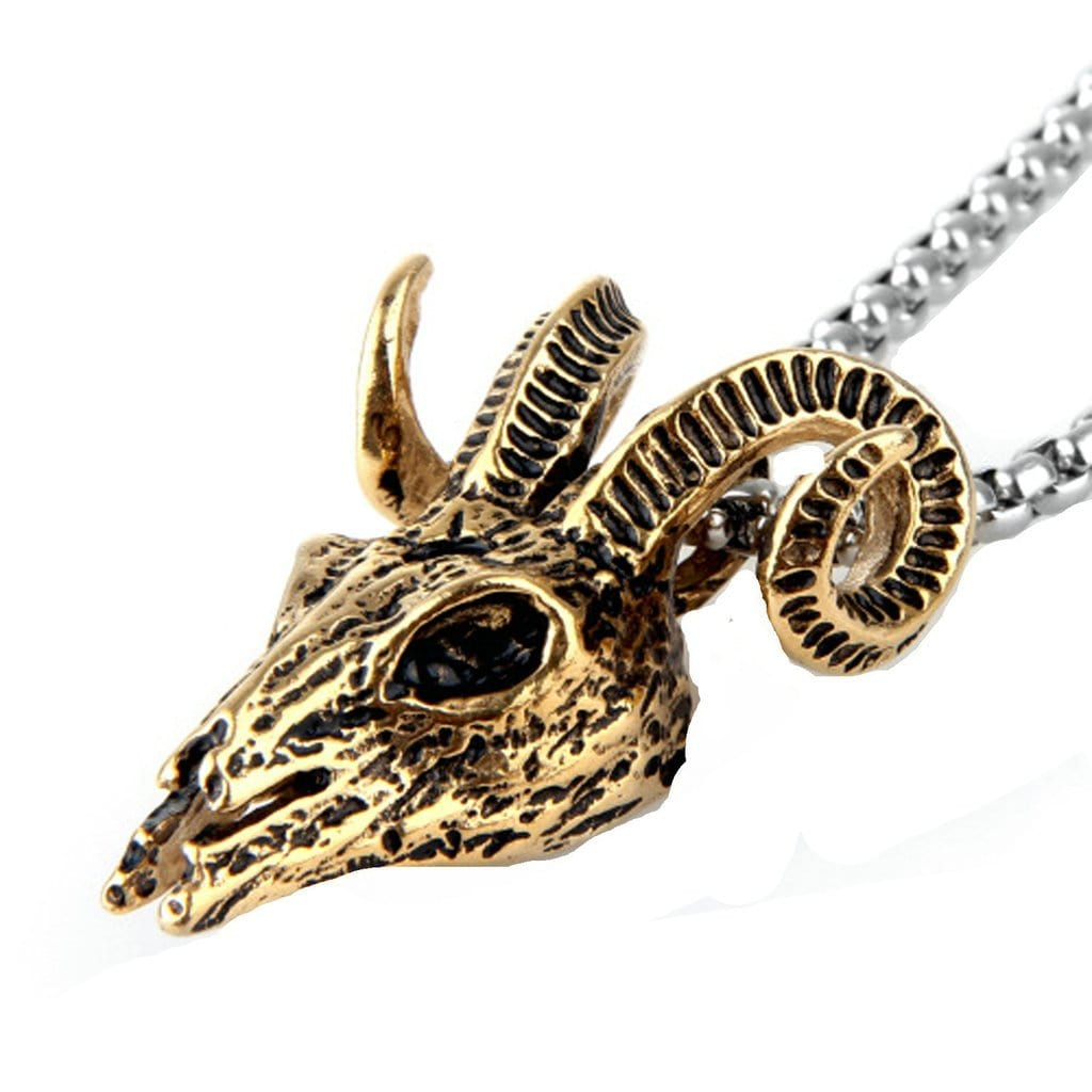 Stainless Steel Mens Goat'S Head Pendant Necklace Vintage Silver Chain Link