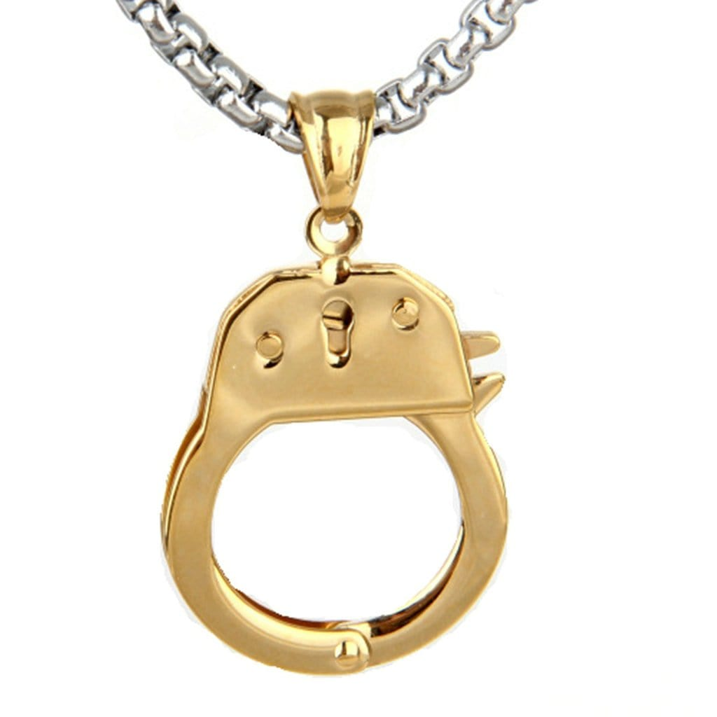 Stainless Steel Mens Oppened Handcuffs Pendant Necklace Fashion Silver Chain Link