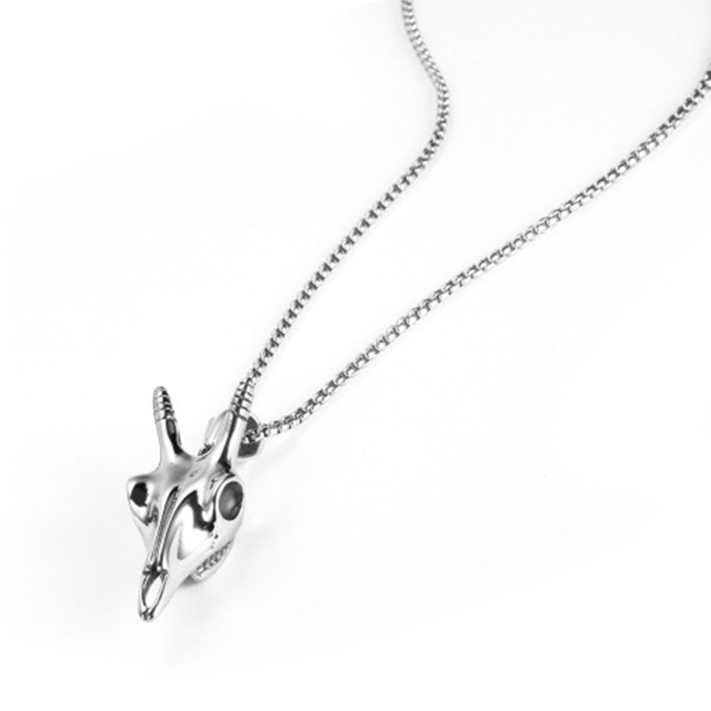 Stainless Steel Necklace for Men Skulls Of Deer Head Silver