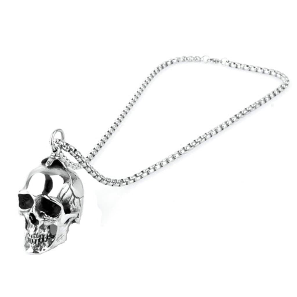 Stainless Steel Mens Skull Hollow Pendant Necklace Fashion Silver Chain Link