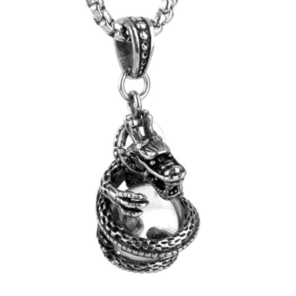 Stainless Steel Mens Dragon Holding Heads Pendant Necklace Fashion Silver Link