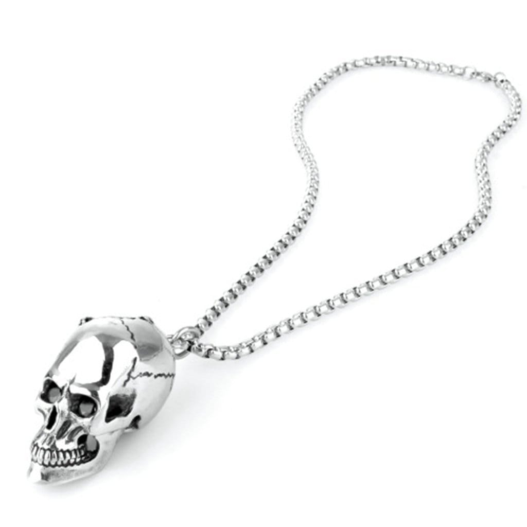 Stainless Steel Mens Black Zircon Skull Pendant Necklace Fashion Silver Link