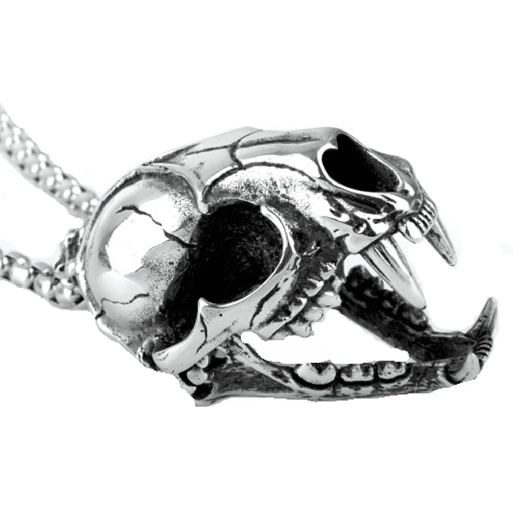 Stainless Steel Mens Dragon Head Pendant Necklace Fashion Silver Link