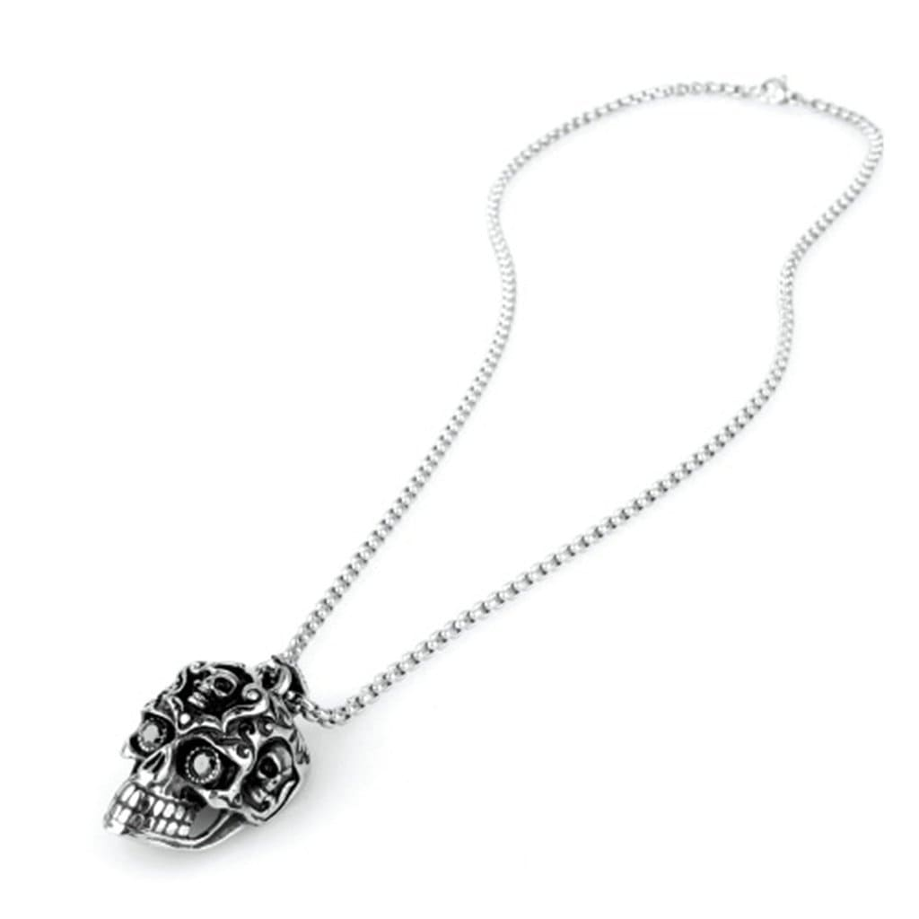 Stainless Steel Mens Black Eyes Skull Pendant Necklace Fashion Silver Link