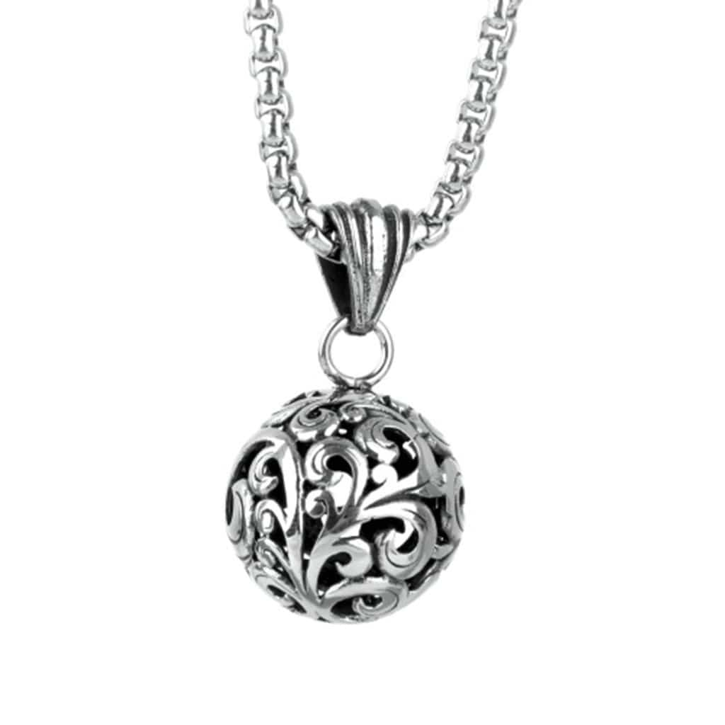 Stainless Steel Mens & Womens Hollow Round Flower Pendant Necklace Fashion Silver Link