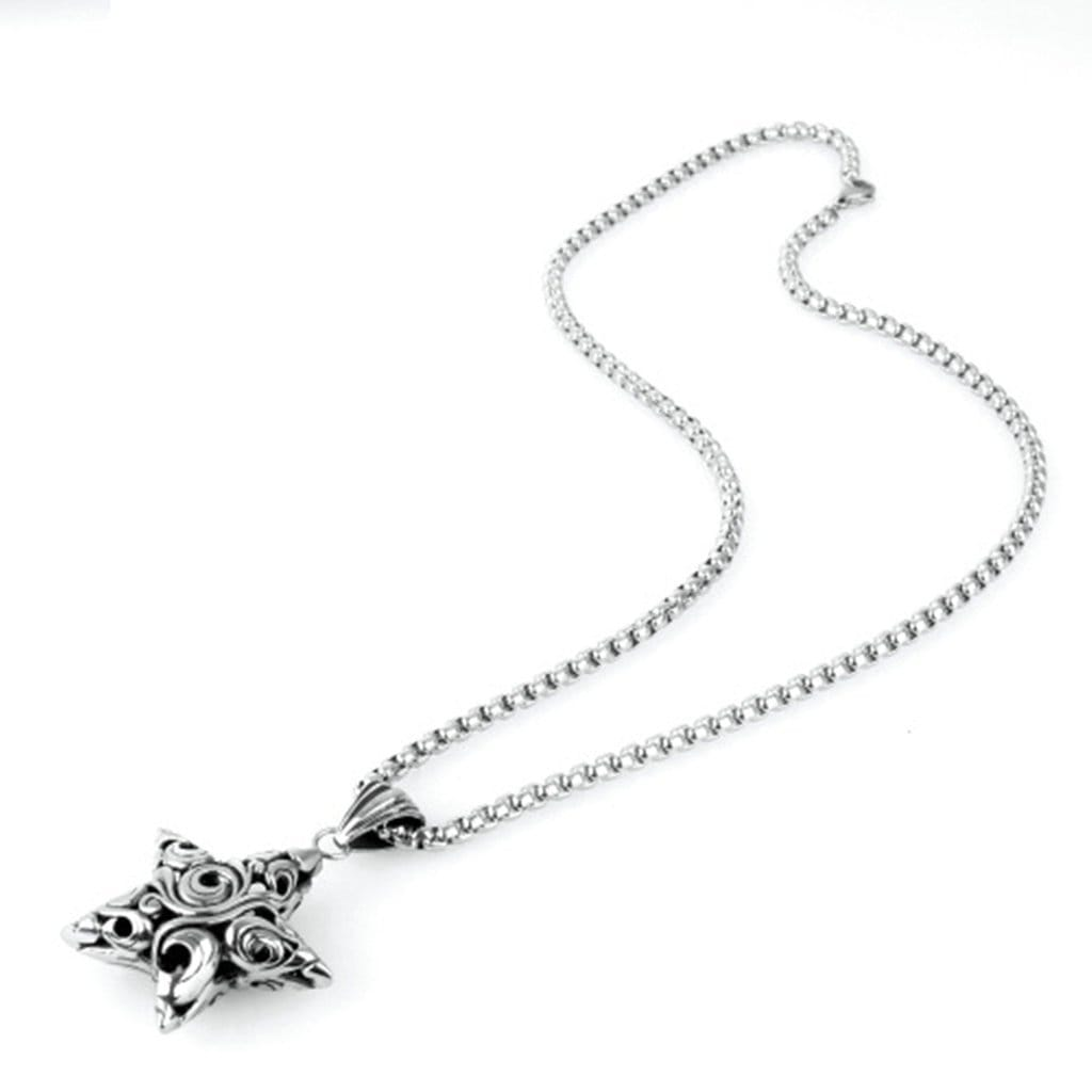 Stainless Steel Mens & Womens Hollow Pentagram Pattern Pendant Necklace Fashion Silver Link